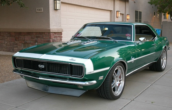 Картинка Chevrolet, Камаро, Шевроле, Camaro, Green, Chevy, Super Sport, Muscle car, '1968, Комплектация Супер Спорт, 1968 …