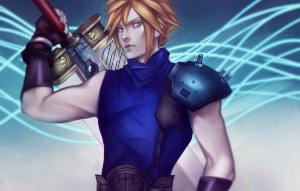 Картинка меч, арт, парень, Final Fantasy 7, ff7, cloud, square enix, rpg, блондин, Cloud Strife
