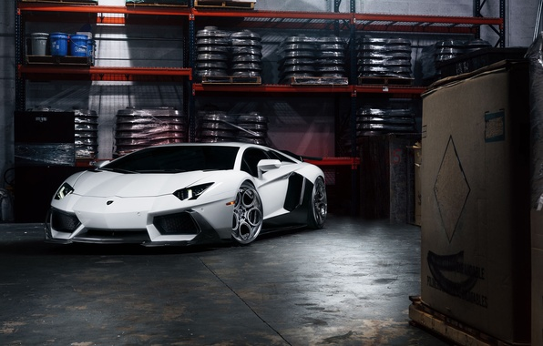 Картинка Lamborghini, Front, White, Matte, Tuning, LP700-4, Aventador, Supercar, Wheels, Garage, ADV.1