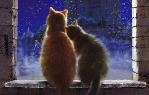 Картинка зима, снег, любовь, кошки, снежинки, ночь, замок, окно, арт, пара, подоконник