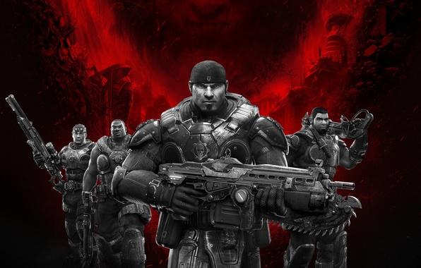 Картинка оружие, команда, Lancer, броня, пила, друзья, винтовка, бандана, Microsoft Game Studios, Epic Games, Августус Коул, …