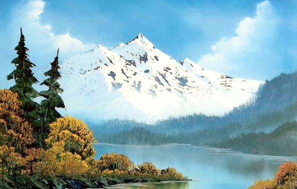 Картинка лес, небо, вода, облака, снег, деревья, пейзаж, горы, туман, река, картина, живопись, Bob Ross, Боб …