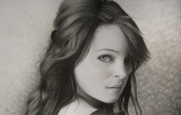 Картинка взгляд, девушка, лицо, фон, волосы, портрет, карандаш, живопись