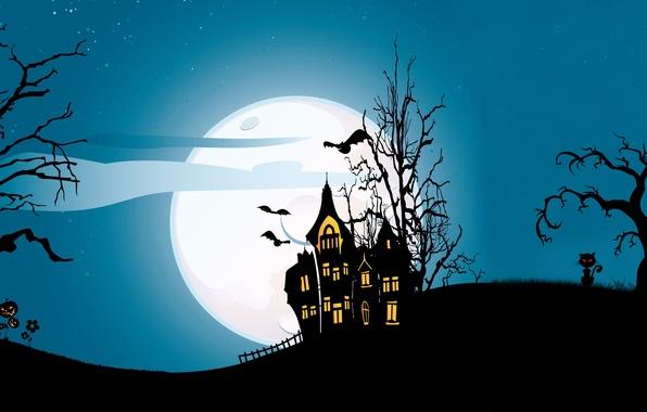 Картинка кошка, деревья, замок, vector, вектор, летучая мышь, ужас, horror, trees, cat, bat, полночь, castle, midnight, …