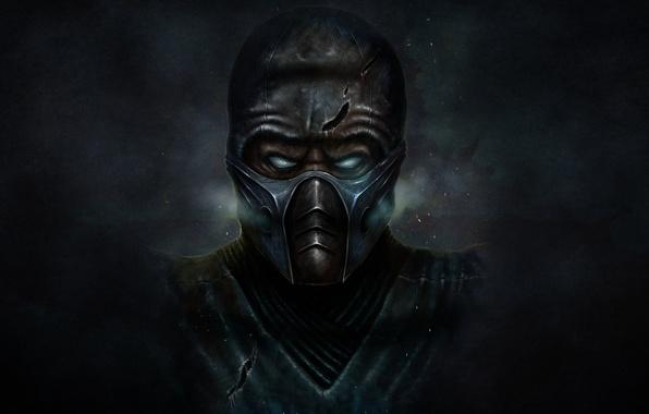 Картинка холод, темный фон, маска, ниндзя, mortal kombat, Sub-Zero, Саб-Зиро