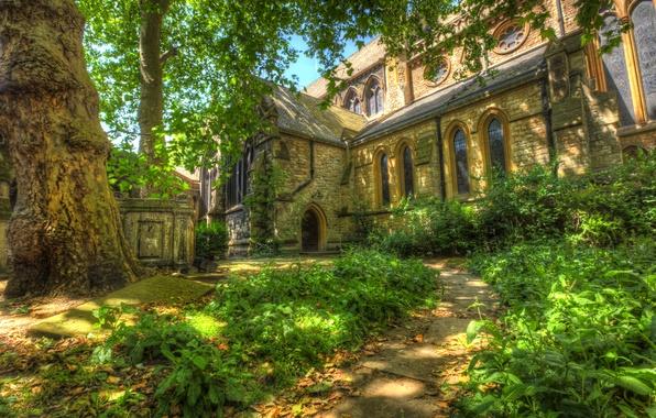 Картинка трава, деревья, Англия, Лондон, тропа, церковь, Temple Church, Темпл