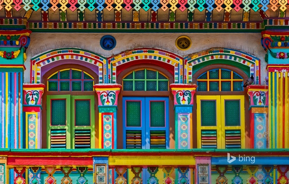 Картинка краски, здание, окно, Сингапур, ставни, фасад, Маленькая Индия