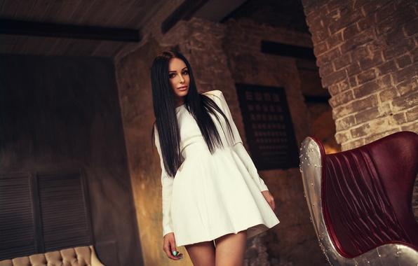 Картинка Legs, Model, Black, White, Moscow, View, Hair, Dress, Katya, Awesome