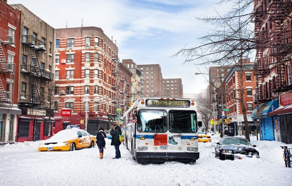 Картинка зима, снег, нью-йорк, winter, new york, snow, usa, nyc, East Village