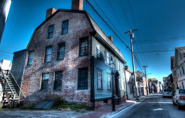 Картинка улица, столбы, провода, дома, обработка, США, Ньюпорт, Newport