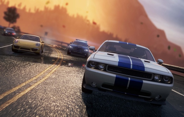 Картинка дорога, полиция, погоня, Porsche, dodge challenger, need for speed most wanted 2