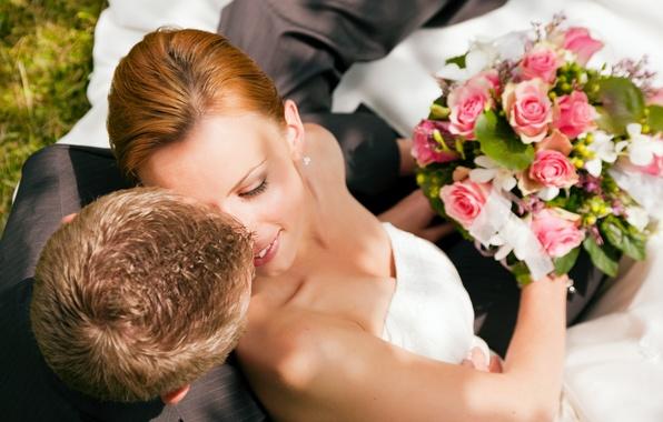 Картинка улыбка, розы, букет, пара, невеста, свадьба, жених