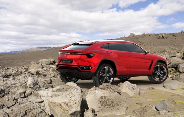 Картинка Concept, небо, красный, камни, Lamborghini, джип, концепт, вид сзади, Ламборгини, Urus, Урус