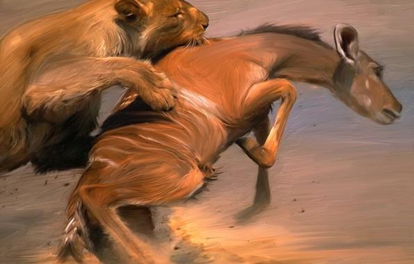 Картинка Рисунок, Лев, Животные, Краски, Арт, Добыча, Живопись, Painter, Схватка