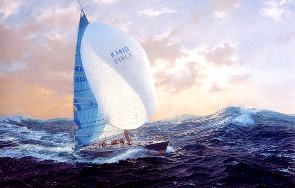 Картинка волны, небо, тучи, ветер, картина, яхта, бурное море, J. Steven Dews