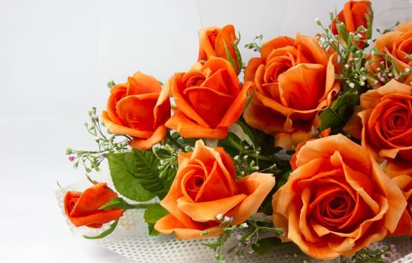 Картинка листья, цветы, стебли, розы, букет, лепестки, оранжевые, искусственные