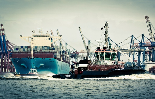 Картинка Вода, Море, Порт, Германия, Борт, Птицы, Корпус, Судно, Чайки, Гамбург, Контейнеровоз, Краны, Бак, Отход, Maersk, ...