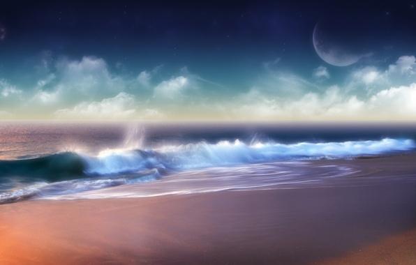 Картинка облака, волна, Берег