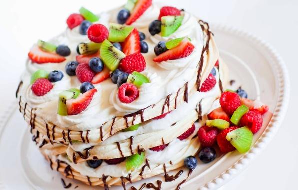 Картинка малина, еда, киви, черника, клубника, торт, пирожное, фрукты, cake, крем, десерт, food, сладкое, fruits, cream, …
