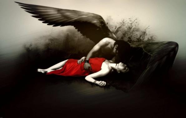 Картинка девушка, черно-белая, ангел, красное платье