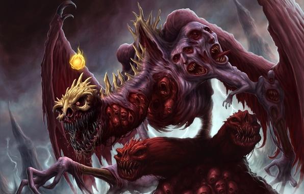 Картинка дракон, крылья, лапы, лица, пасть, когти, клыки, черепа, трупы, фаербол