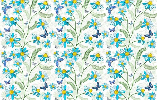 Картинка бабочки, цветы, голубой, узор
