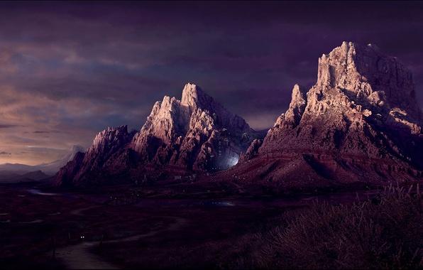Картинка дорога, свет, Горы, 151