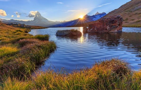 Картинка закат, горы, озеро, Швейцария, Switzerland, Zermatt, Церматт, гора Маттерхорн, Пеннинские Альпы, Pennine Alps, Matterhorn Mountain, …