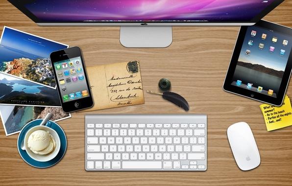 Картинка iphone, Mac, ipad, apple summer desk