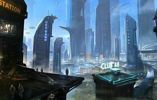 Картинка город, будущее, люди, здание, небоскребы, мегаполис