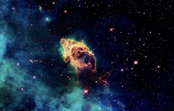 Картинка космос, туманность, свечение, звёзды, облако