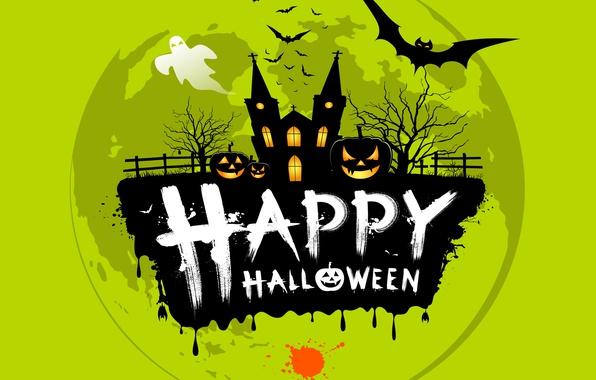 Картинка деревья, надпись, клякса, ограда, призрак, церковь, тыква, Хеллоуин, летучие мыши, Helloween, happy halloween