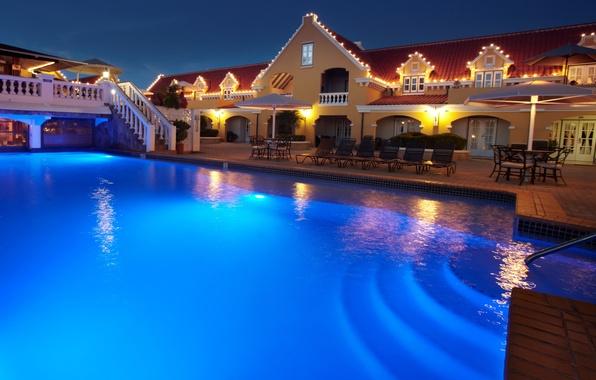 Картинка дом, остров, бассейн, кресла, отель, pool, курорт, Holland, Amsterdam, терраса, hotel, Голландия, столики, экстерьер, manor, …