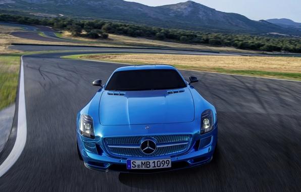 Картинка Mercedes-Benz, Синий, AMG, SLS, Передок