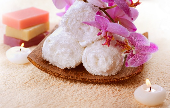 Картинка полотенце, свечи, мыло, орхидея
