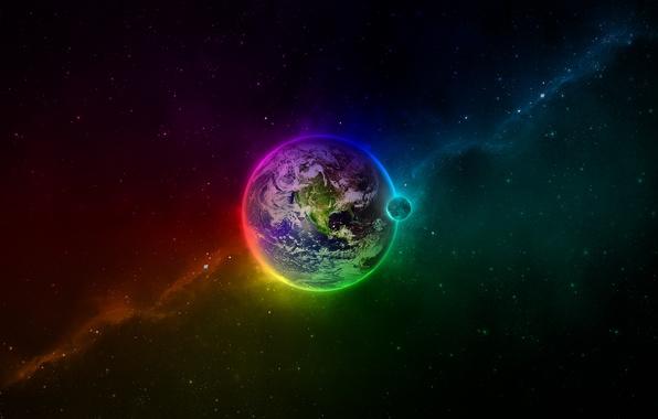 Картинка цвета, космос, земля, луна, планета, звёзды, бездна
