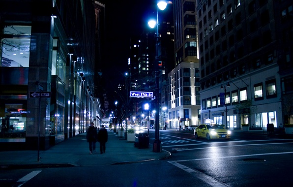 Картинка ночь, улица, нью-йорк, night, New York City, nyc