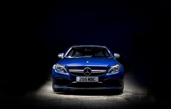 Картинка синий, фон, Mercedes-Benz, мерседес, AMG, Coupe, C-Class, C205