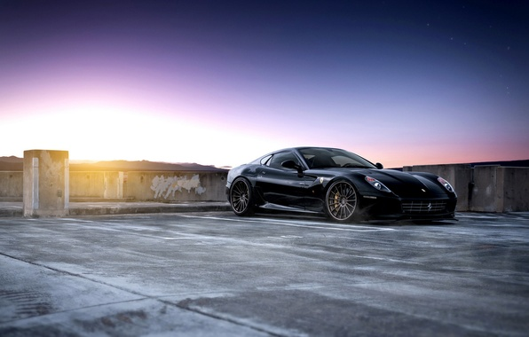 Картинка черная, спорткар, феррари, паркинг, Ferrari 599 GTB Fiorano