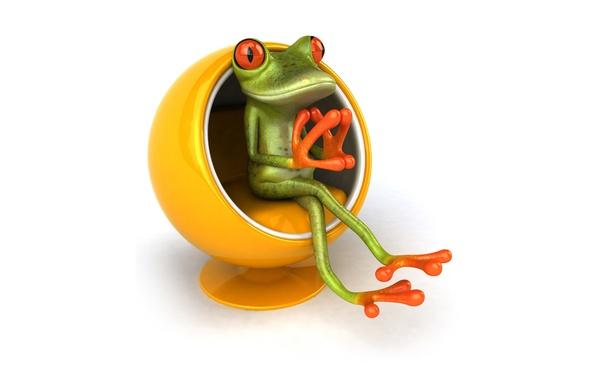 Картинка графика, лягушка, кресло, стул, Free frog 3d