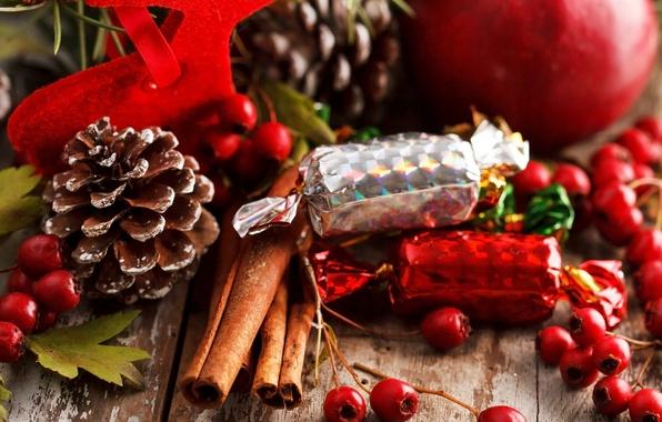 Картинка ягоды, яблоко, еда, палочки, Новый Год, Рождество, конфеты, сладости, красные, корица, Christmas, шишки, праздники, New …