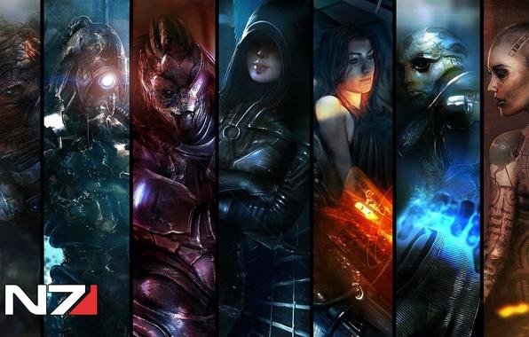 Картинка Miranda Lawson, Mass Effect 3, Garrus Vakarian, Thane Krios, Jack, krogan, grunt, Kasumi, legion