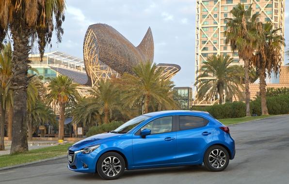 Картинка фото, Мазда, Голубой, Mazda, Автомобиль, Сбоку, 2014, Металлик, Mazda 2