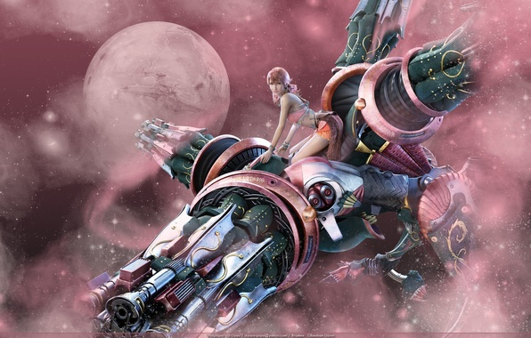Картинка девушка, розовый, последняя фантазия 13, final fantasy xiii, square enix, Vanille
