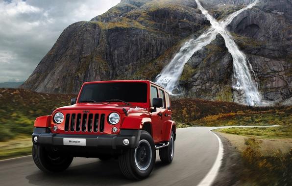 Картинка дорога, машина, горы, водопад, джип, автомобиль, Jeep, 2015, Wrangler X