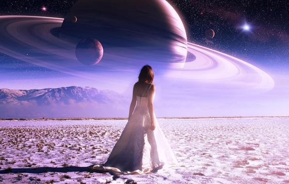 Картинка небо, звезды, горы, планета, Девушка