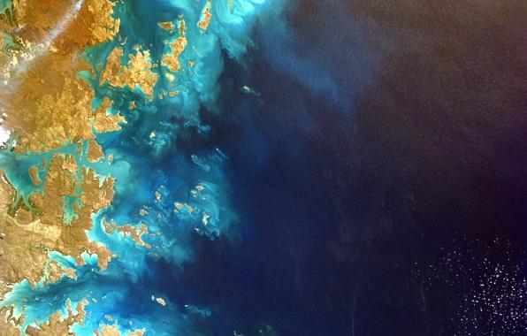 Картинка космос, океан, планета, Австралия, Земля, NASA, снимок, foto, Australia