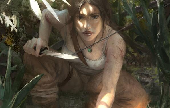 Картинка взгляд, лицо, оружие, волосы, майка, арт, нож, охотница, lara croft, tomb raider, лара крофт