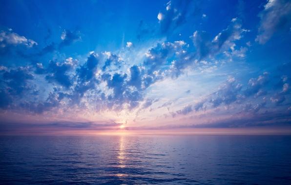 Картинка море, небо, солнце, облака, свет, обои, цвет, горизонт