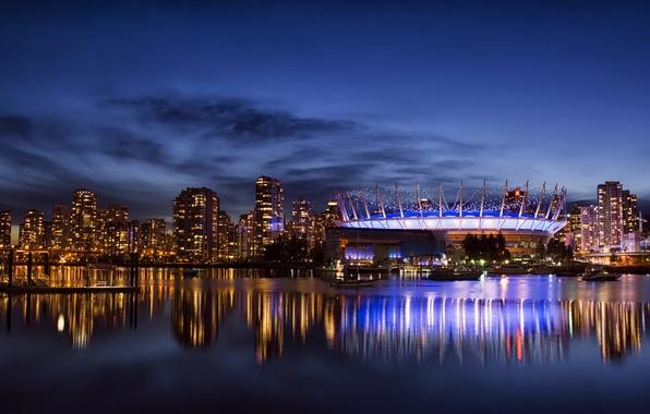 Картинка небо, облака, ночь, город, отражение, здания, дома, небоскребы, освещение, подсветка, Канада, залив, Ванкувер, Canada, синее, …